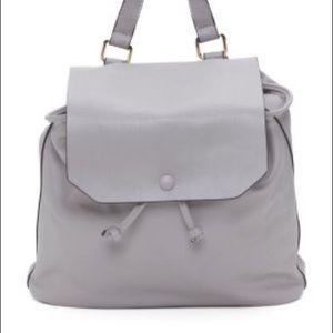 • vegan leather grey smooth finish backpack •
